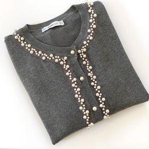 Zara Knit Pearl Embellished Cardigan Grey